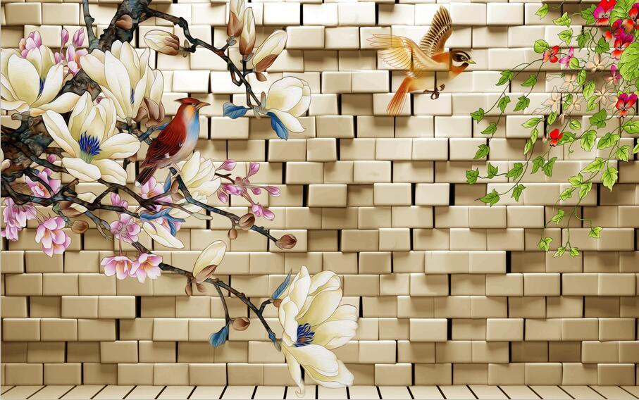 3D Brick flower colorful birds Wallpaper AJ Wallpaper 1