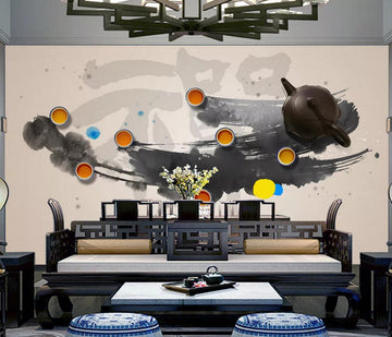3D Teapot Teacup WC542 Wall Murals