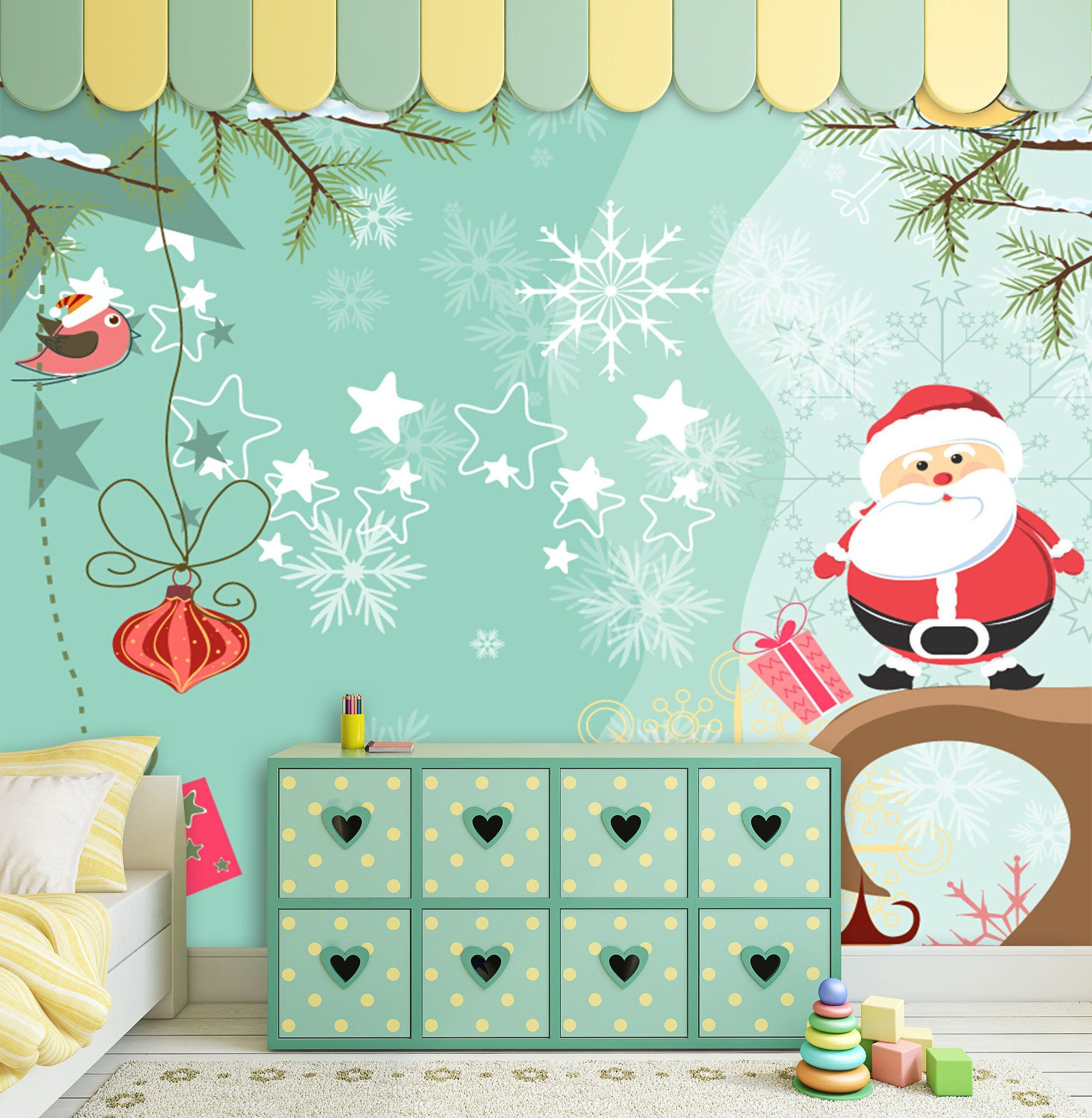 3D Father Christmas And Green Tree 5 Wallpaper AJ Wallpaper