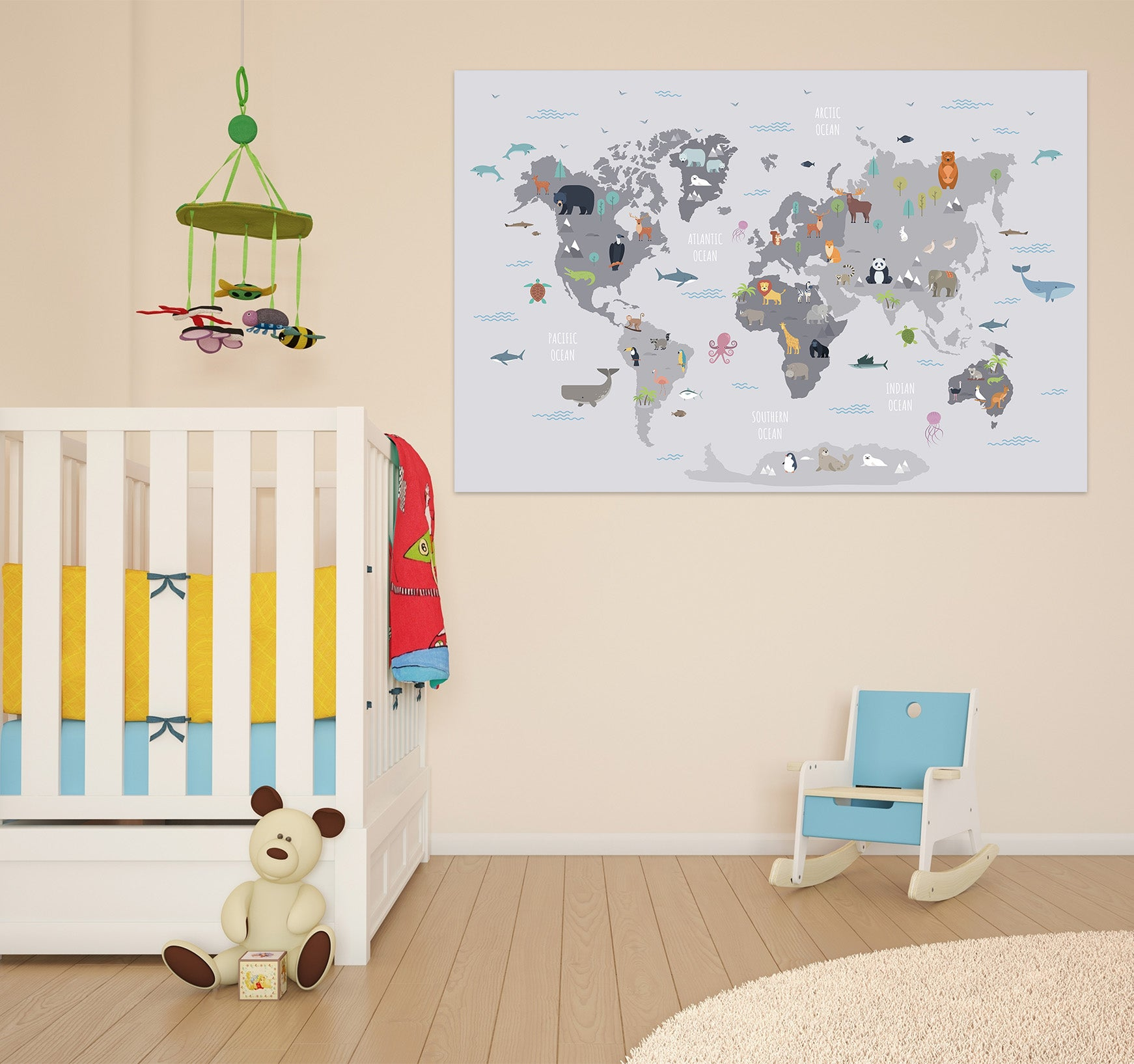3D Grey Art 255 World Map Wall Sticker