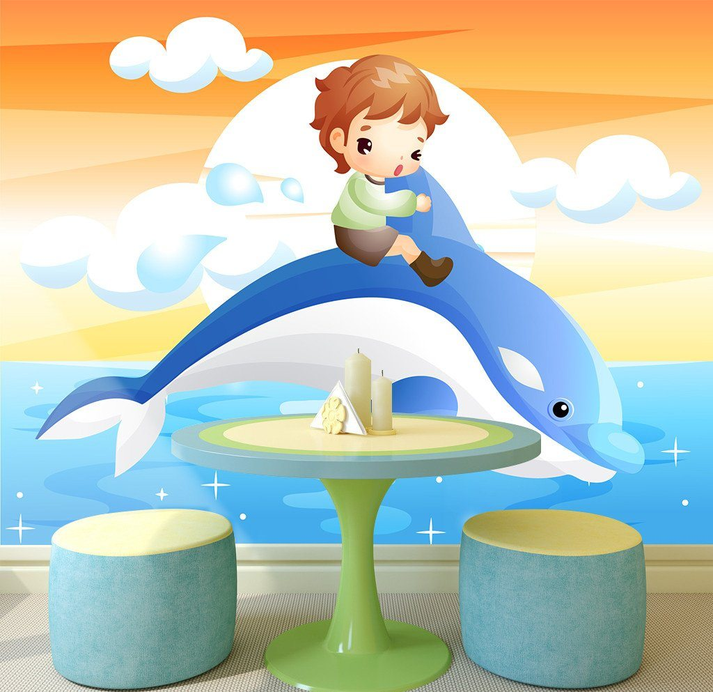 3D Boy Riding Dolphin 353 Wallpaper AJ Wallpaper