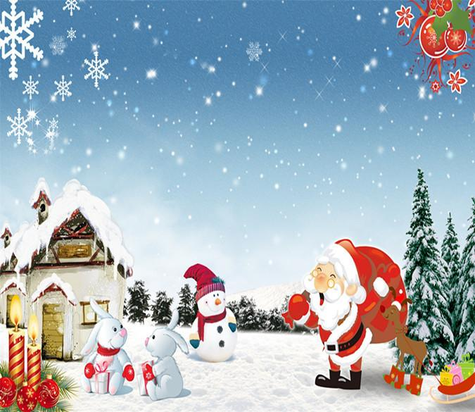 3D Father Christmas And Snowman Hut 13 Wallpaper AJ Wallpaper