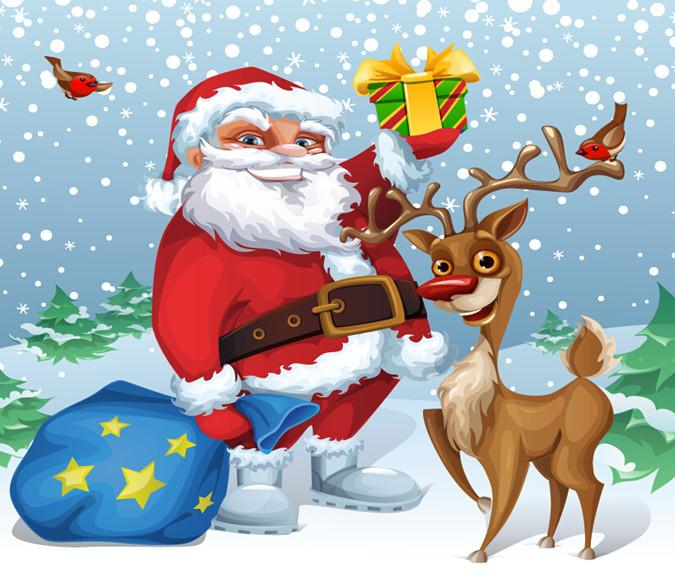 3D Father Christmas And Reindeer 646 Wallpaper AJ Wallpaper