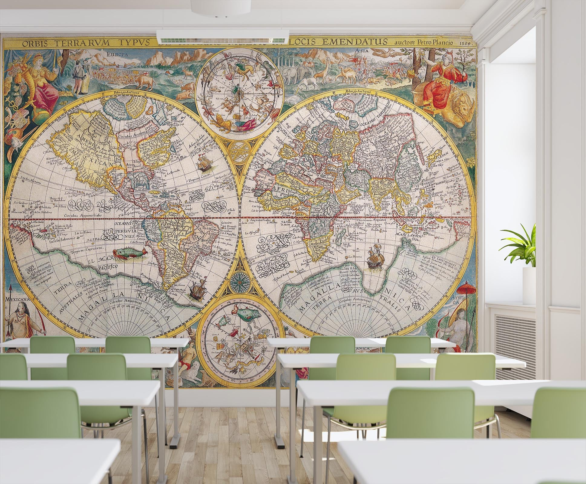 3D Round Animal Map 164 Wall Murals