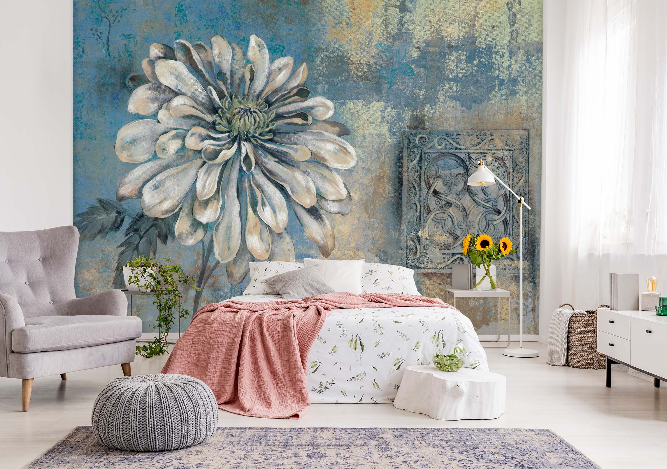 3D White Flower Retro 060 Wall Murals