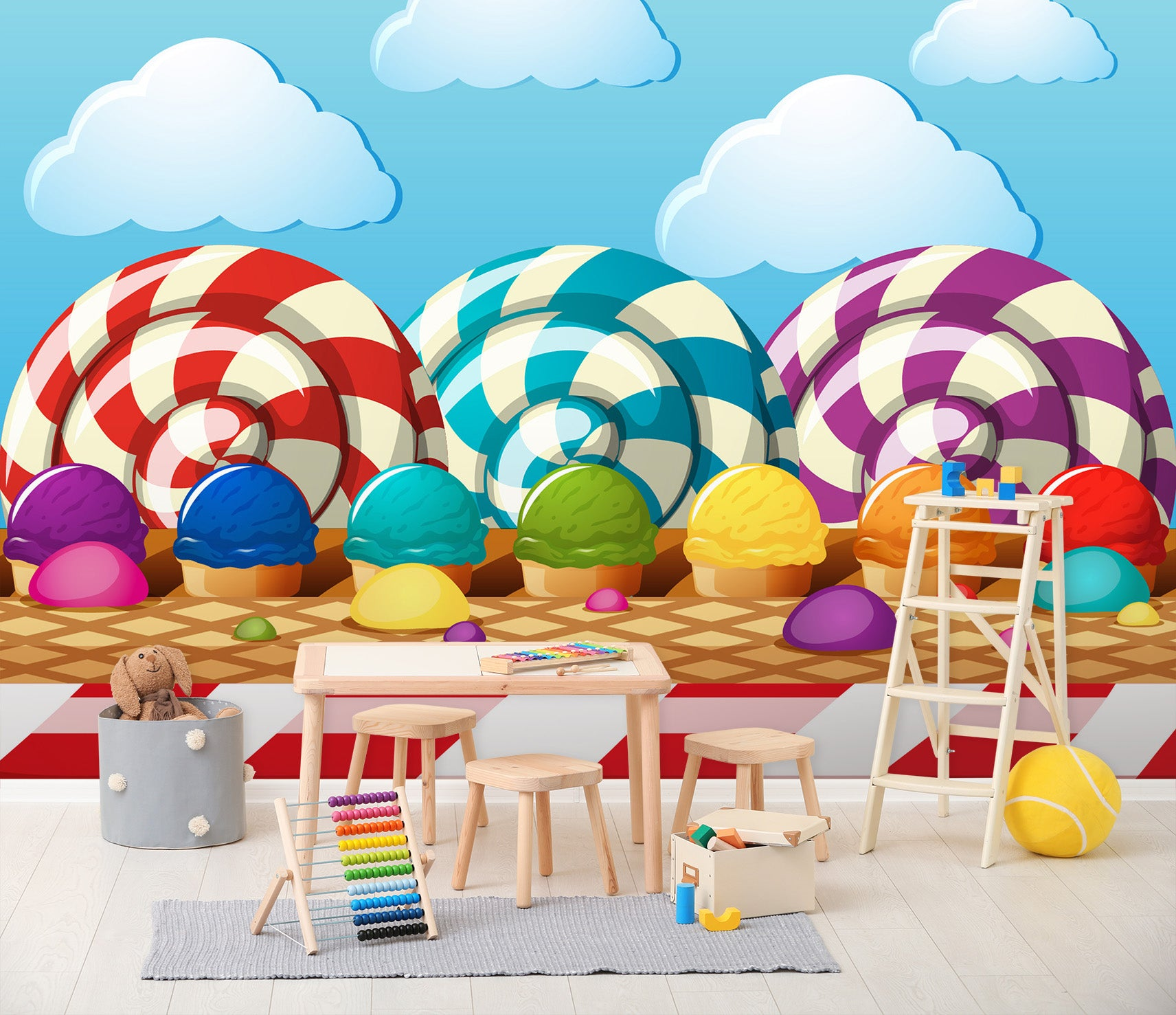 3D Color Ice Cream 012 Wall Murals