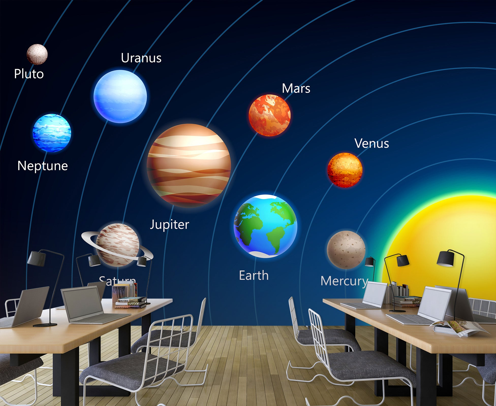 3D Cartoon Planet 162 Wall Murals