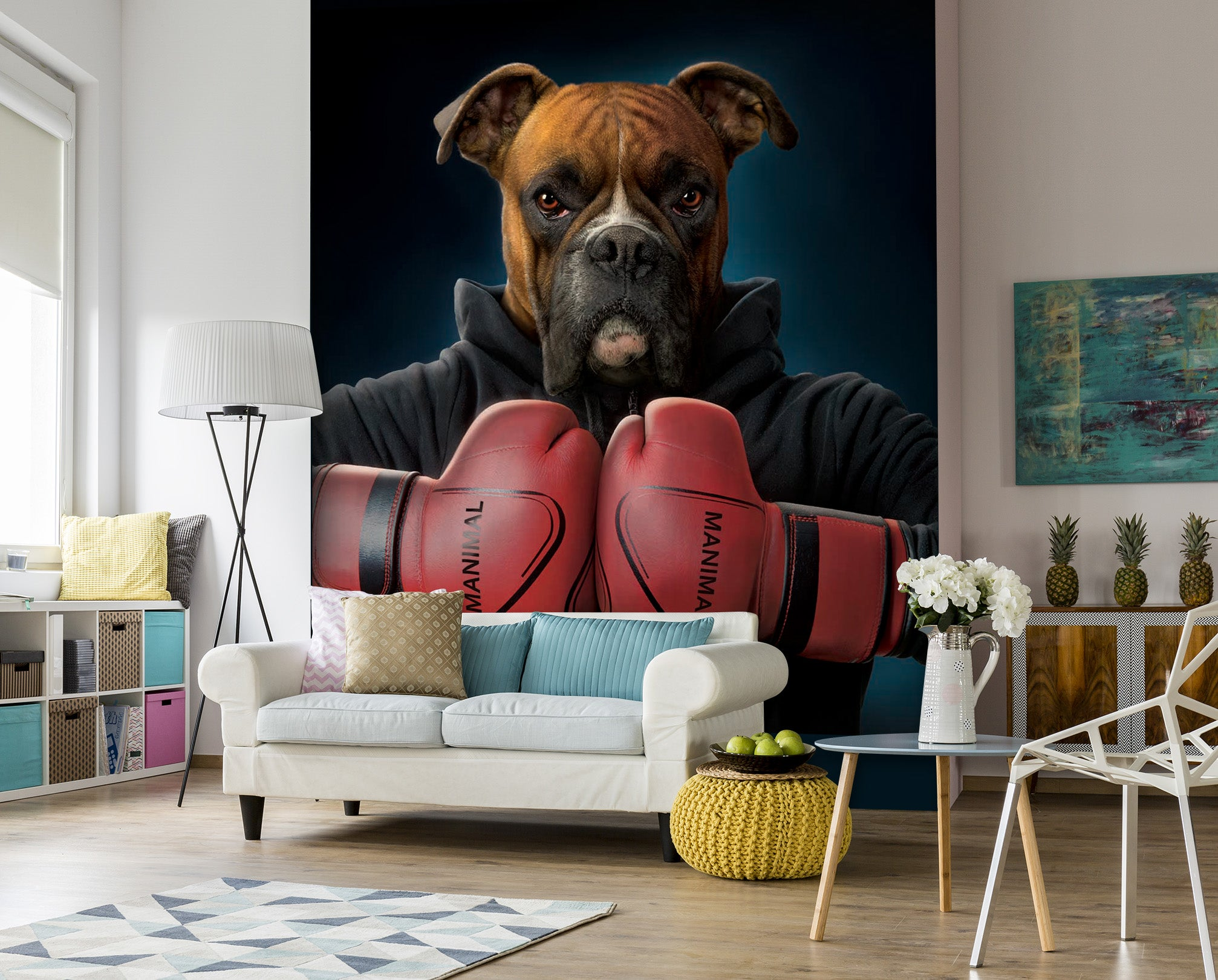 3D Boxing Dog 1415 Wall Murals Exclusive Designer Vincent