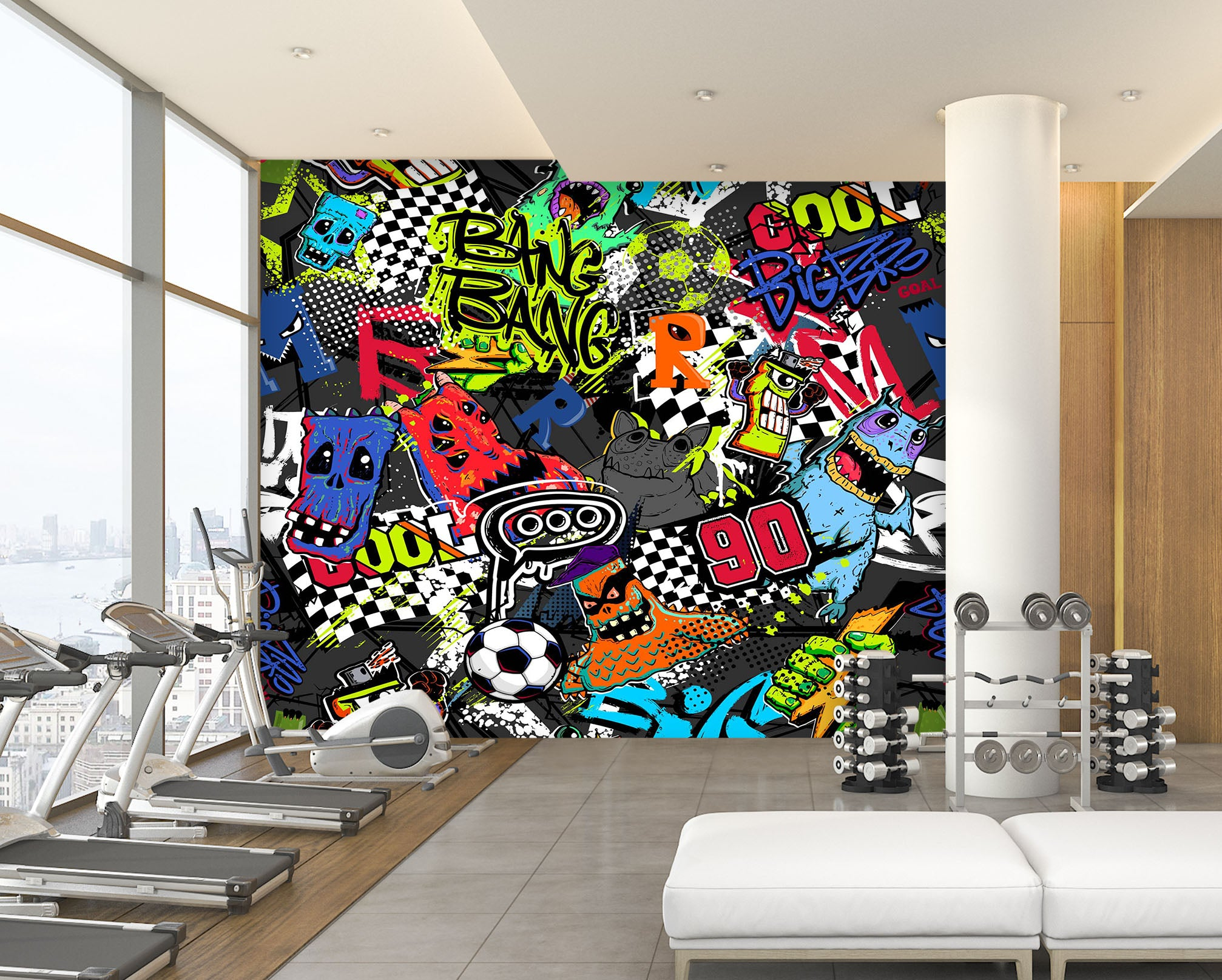 3D Color Pattern 304 Wall Murals