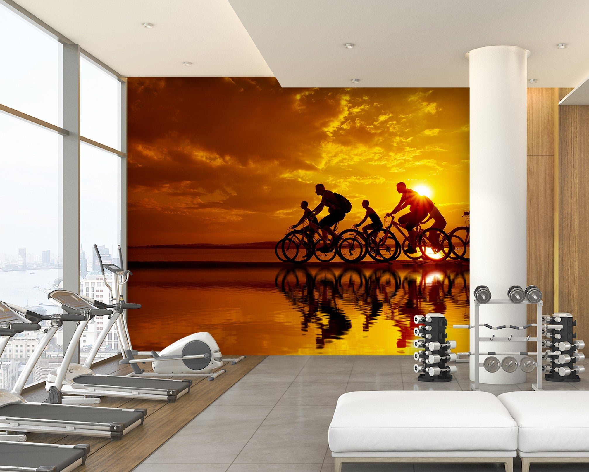3D Morning Bike Ride 220 Wall Murals