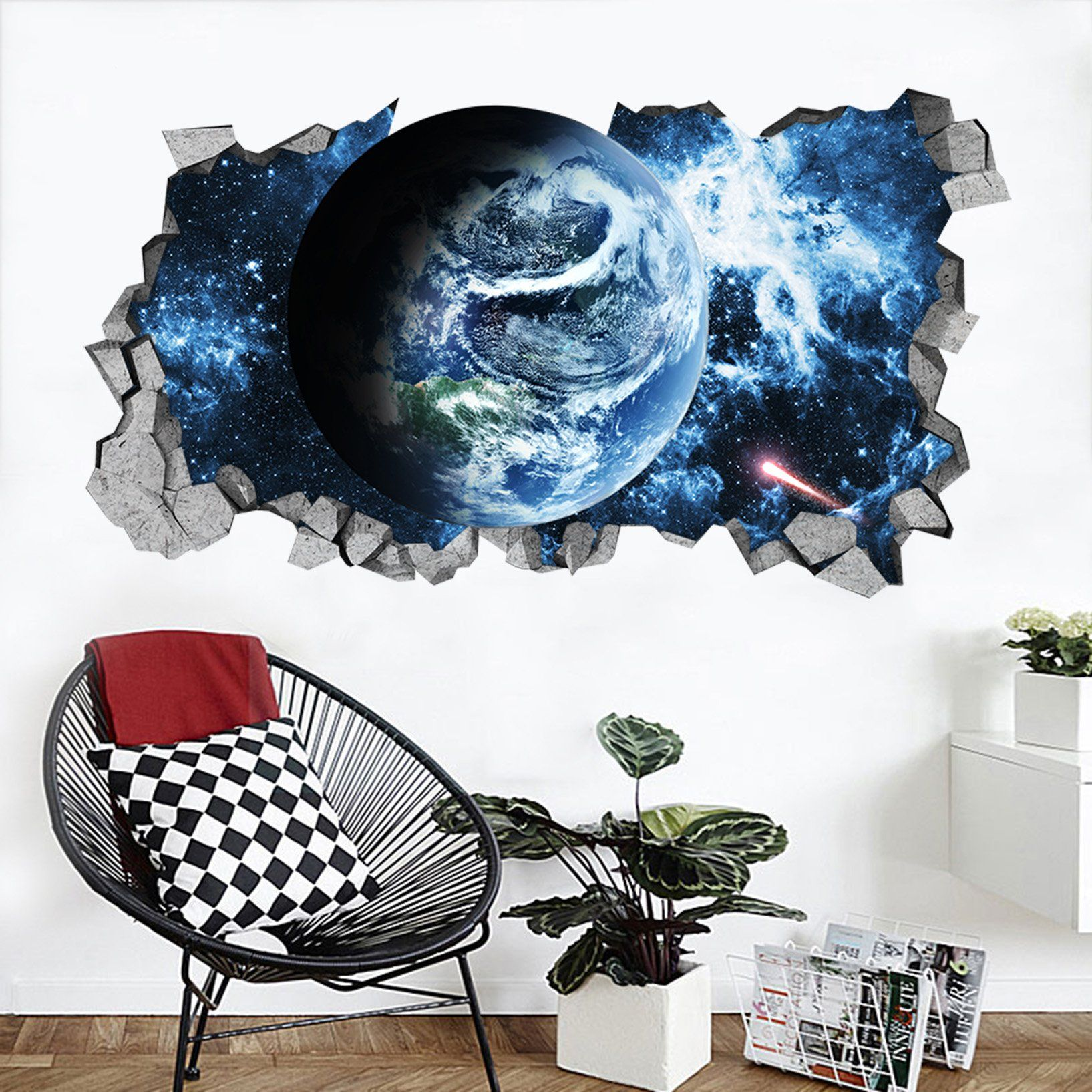 3D Space Earth 46 Broken Wall Murals