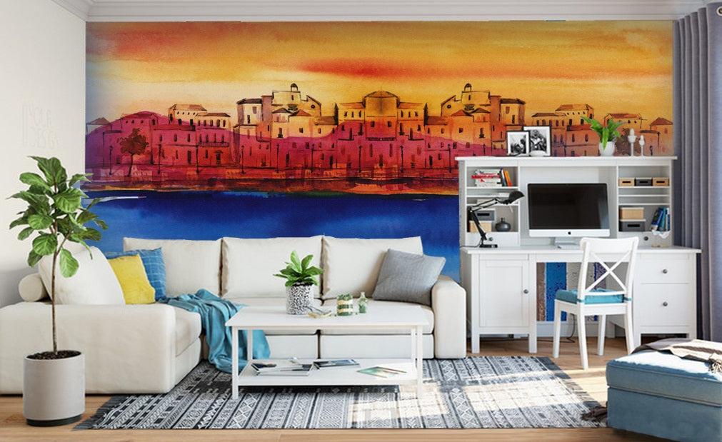 3D Sea City 2048 Wall Murals