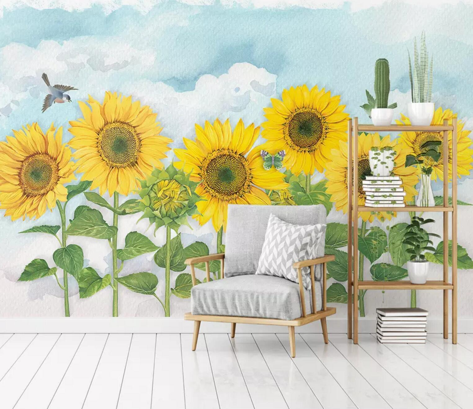 3D Sunflower Magpie 278 Wallpaper AJ Wallpaper