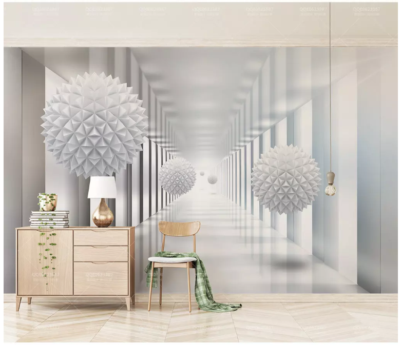 3D White Sphere 2046 Wall Murals