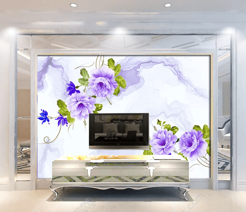 3D Velvet Flower Butterfly 1525 Wallpaper AJ Wallpaper 2