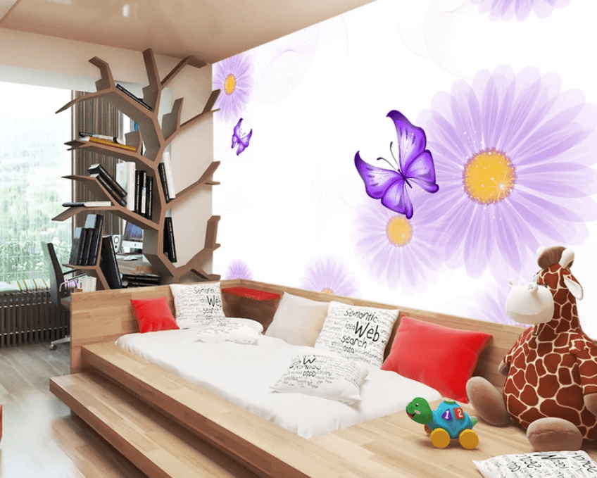 3D Purple Butterfly 942 Wallpaper AJ Wallpaper 2