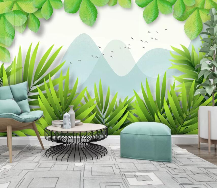 3D Green Leaf 1950 Wall Murals
