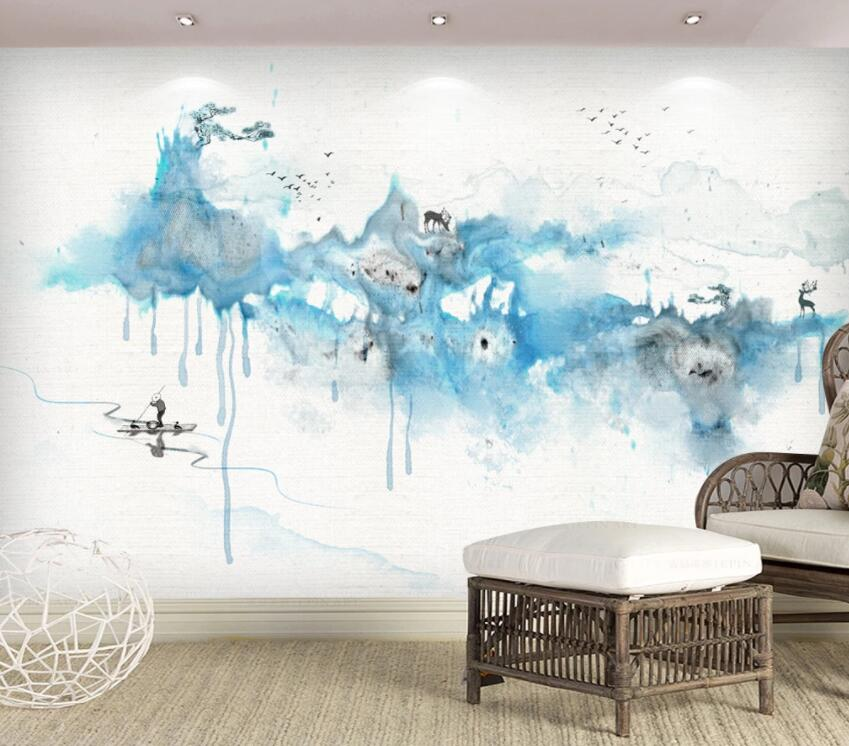 3D Blue Graffiti 1498 Wall Murals