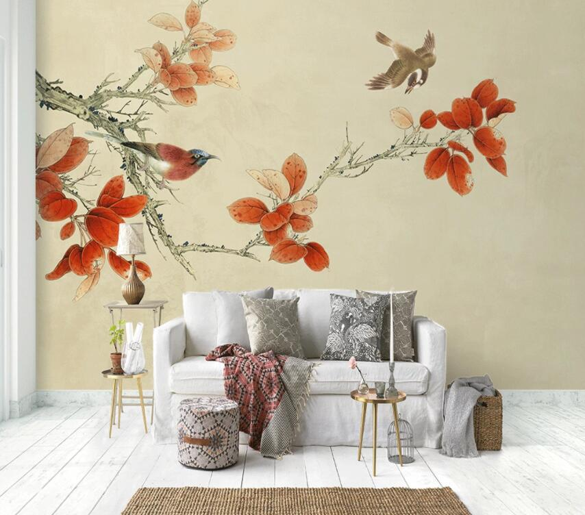 3D Red Flower 302 Wall Murals Wallpaper AJ Wallpaper 2