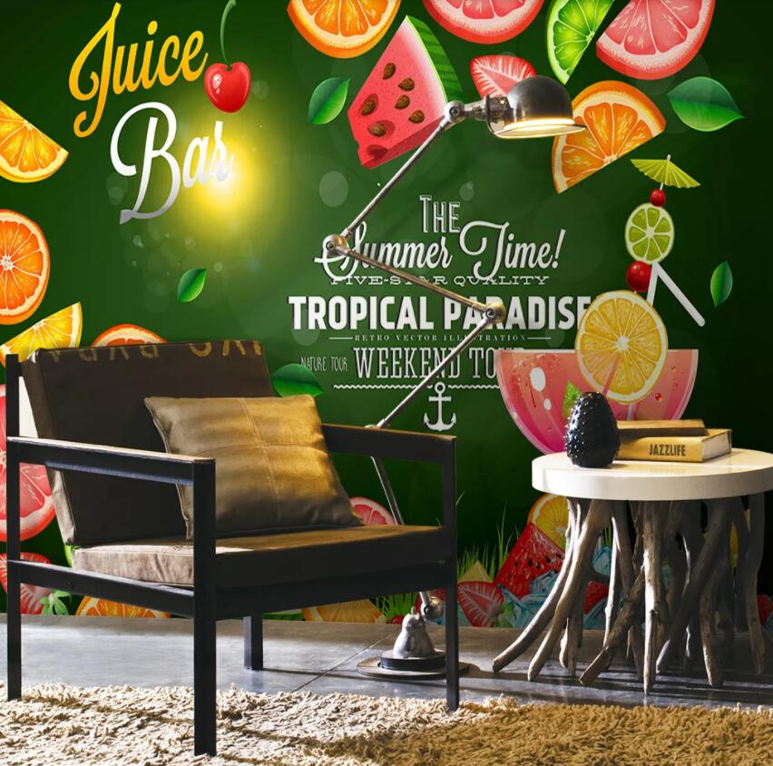 3D Strawberry Orange 1361 Food Wall Murals