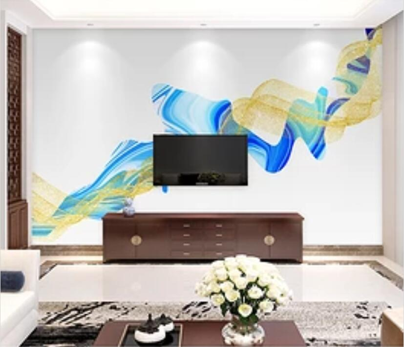 3D Golden Wave 1614 Wall Murals