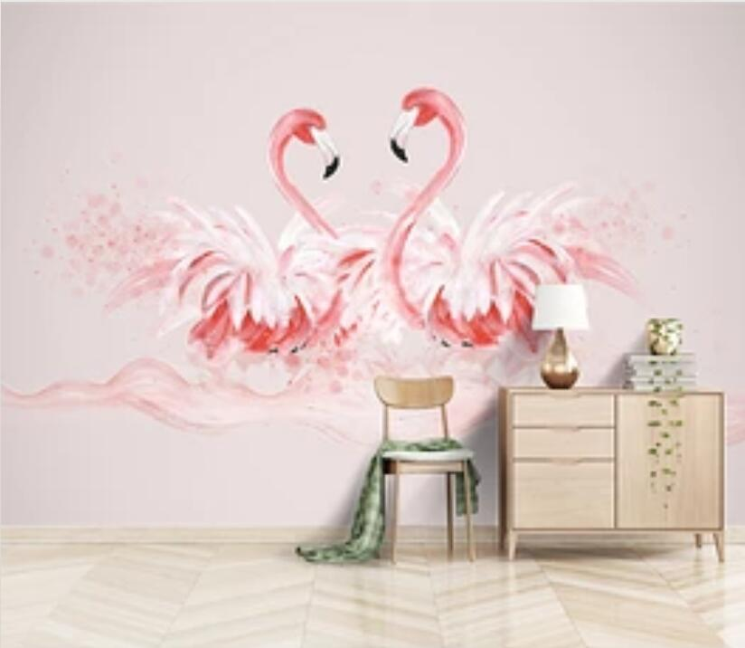 3D Pink Flamingo 1941 Wall Murals