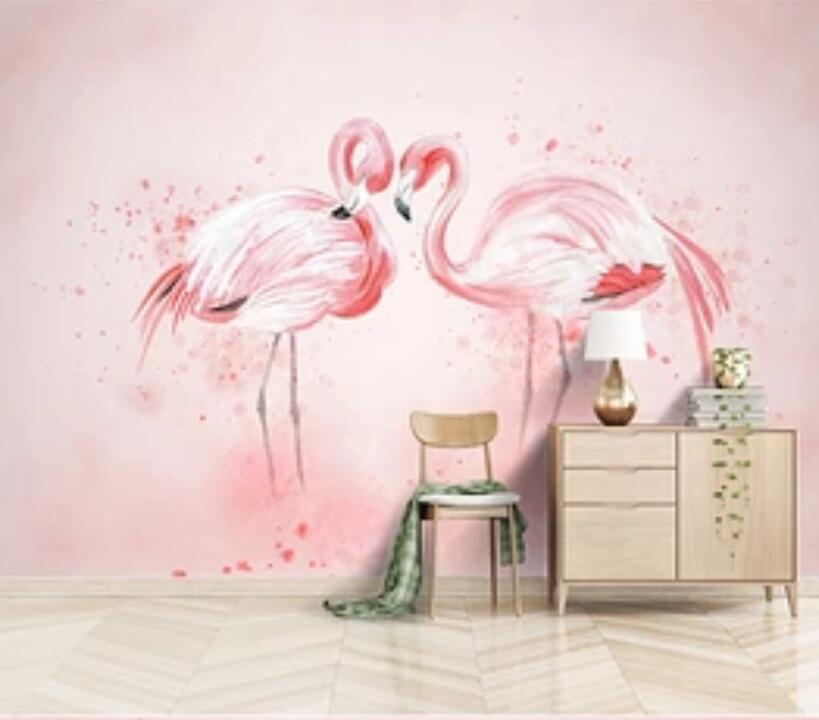 3D Pink Flamingo 1936 Wall Murals