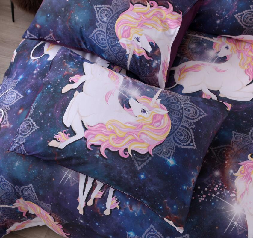 3D Starry Sky Unicorn 9960 Bed Pillowcases Quilt