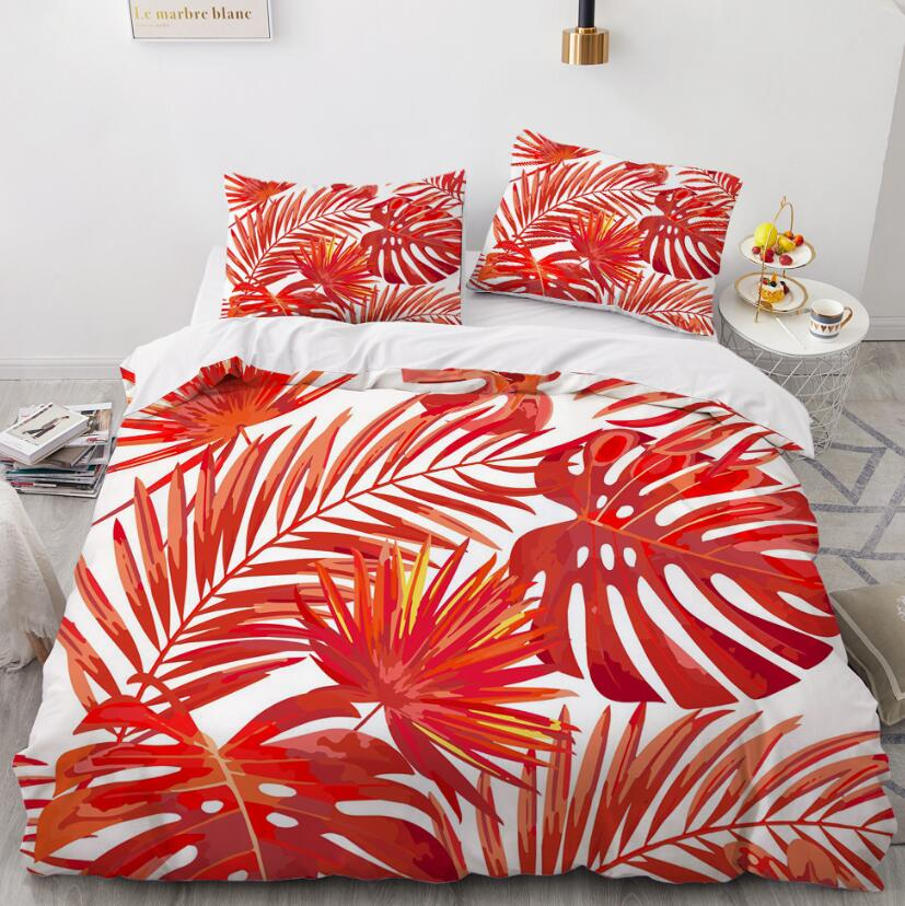 3D Red Leaves 88196 Bed Pillowcases Quilt