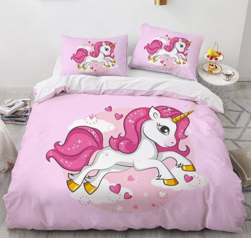 3D Red Unicorn 160 Bed Pillowcases Quilt