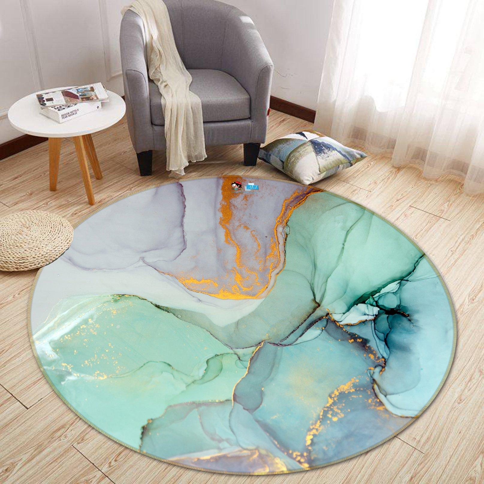 3D Green And Purple Marble 373 Round Non Slip Rug Mat