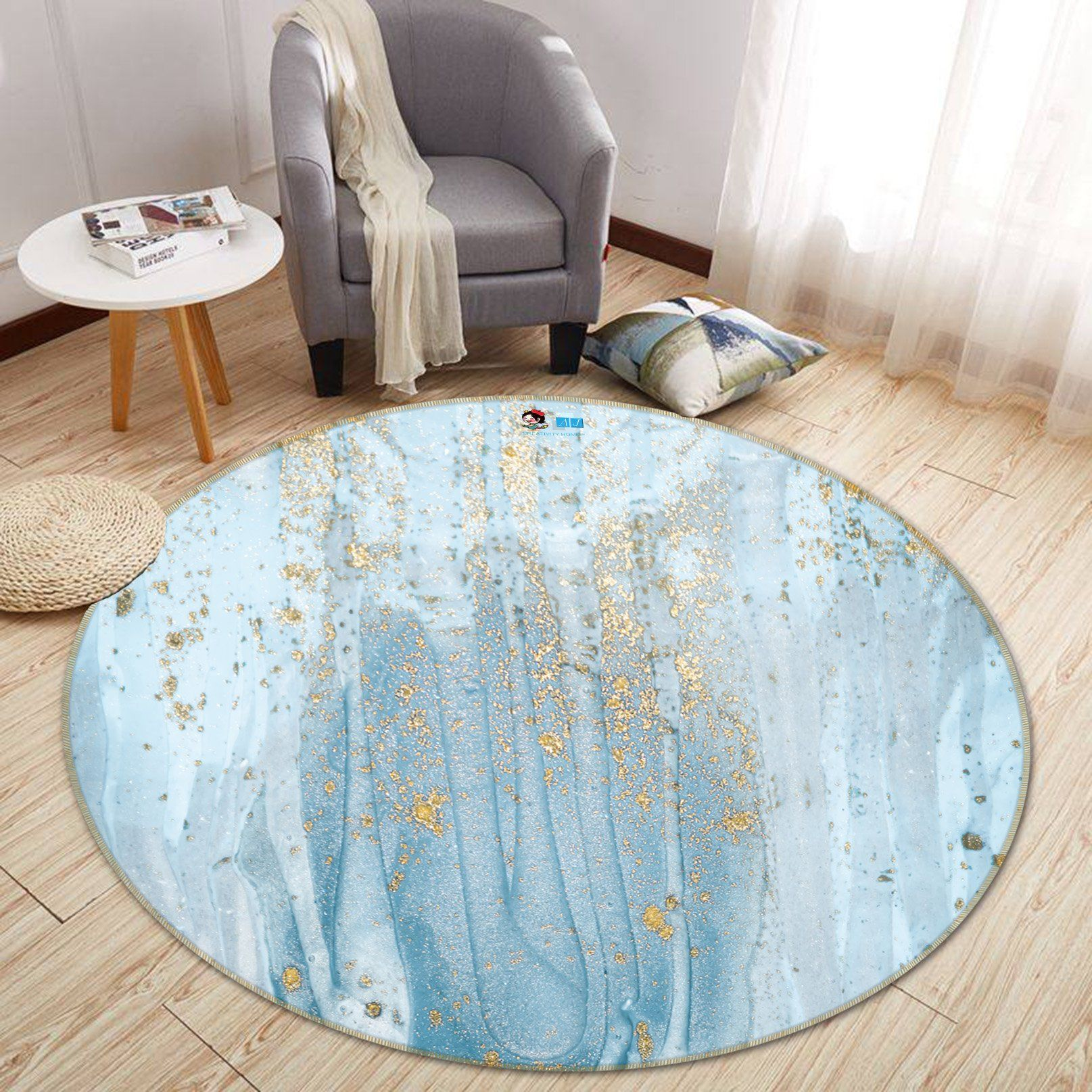 3D Apply Light Blue 146 Round Non Slip Rug Mat Mat AJ Creativity Home