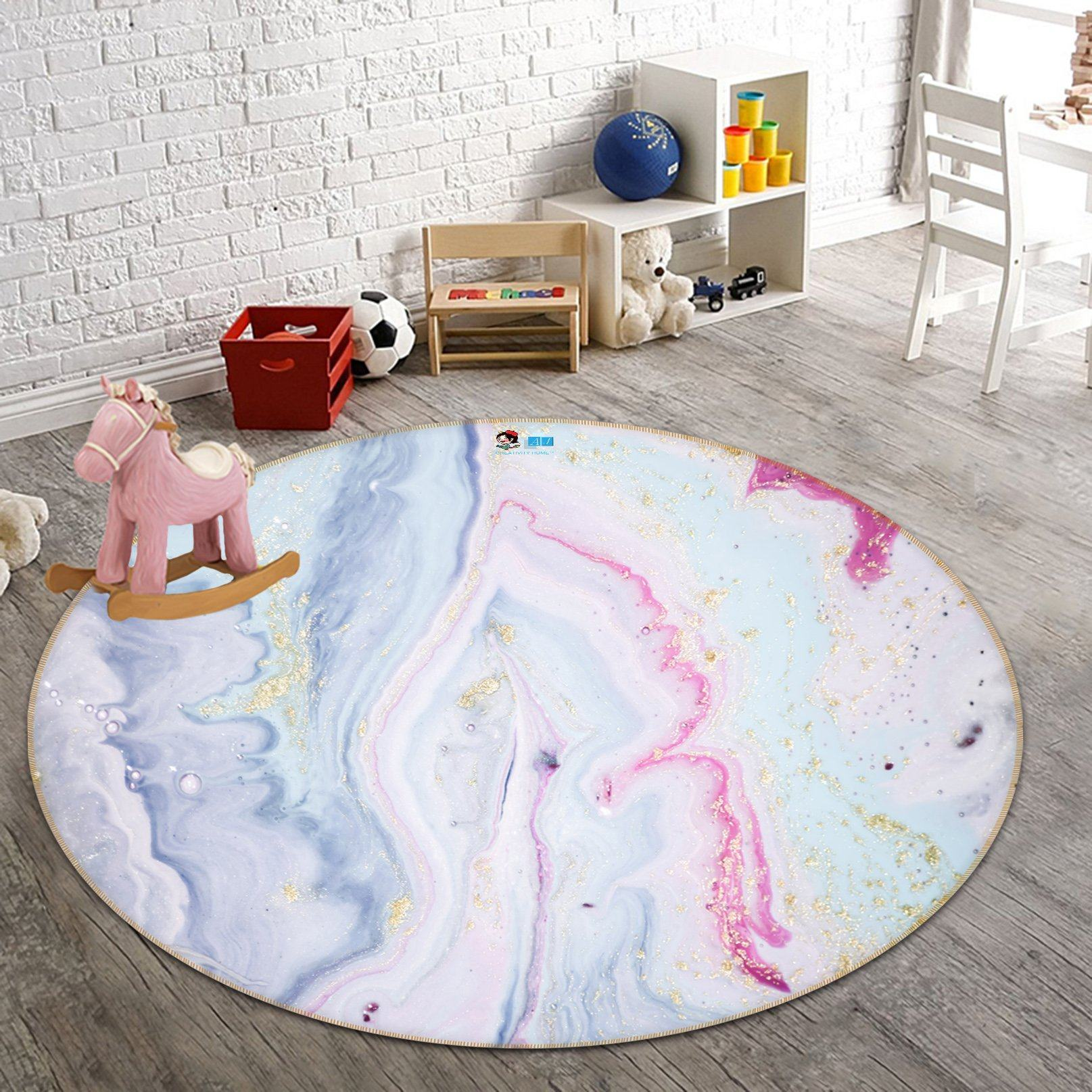 3D Pink And Tender Patterns 24 Round Non Slip Rug Mat