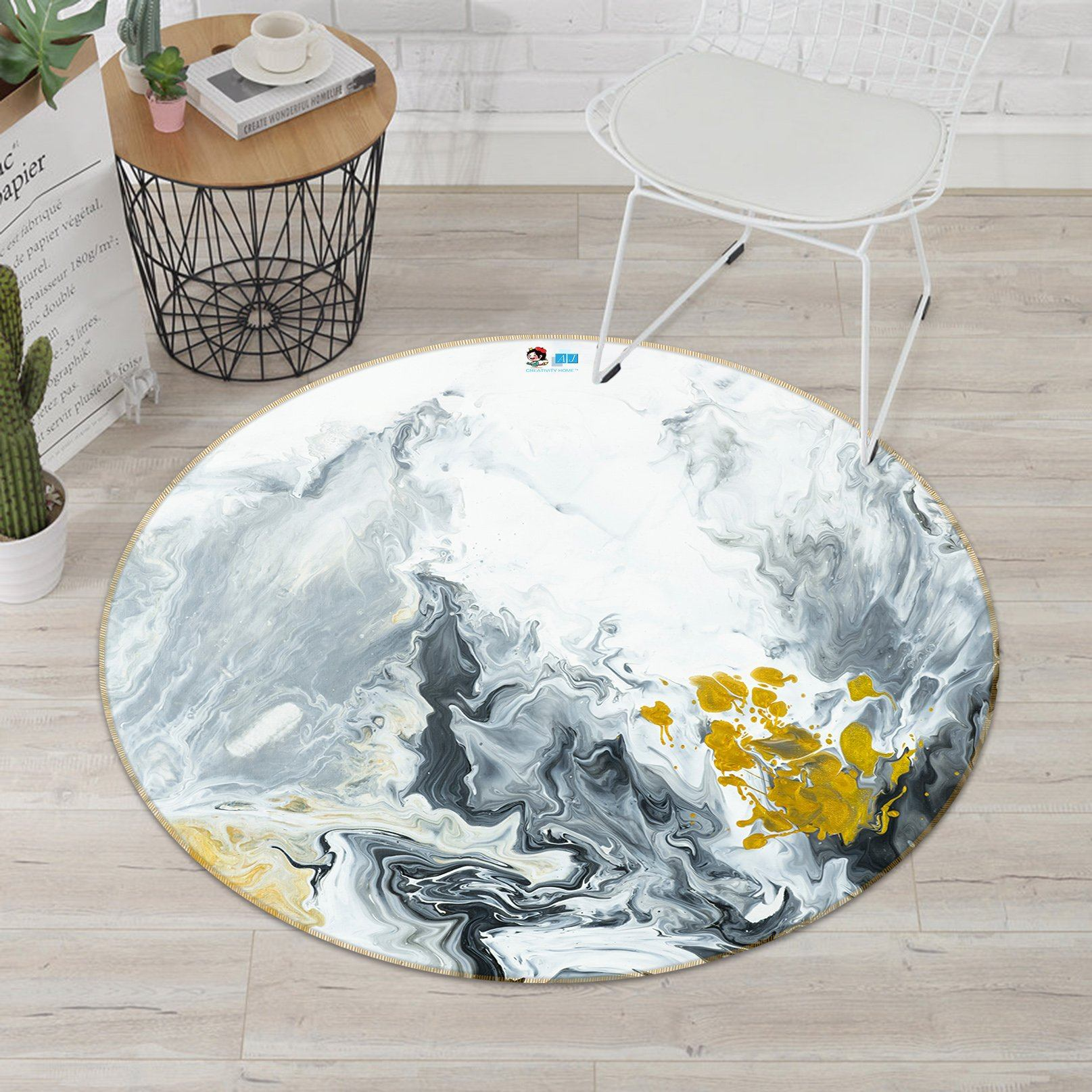 3D Ink Painting 4683 Round Non Slip Rug Mat