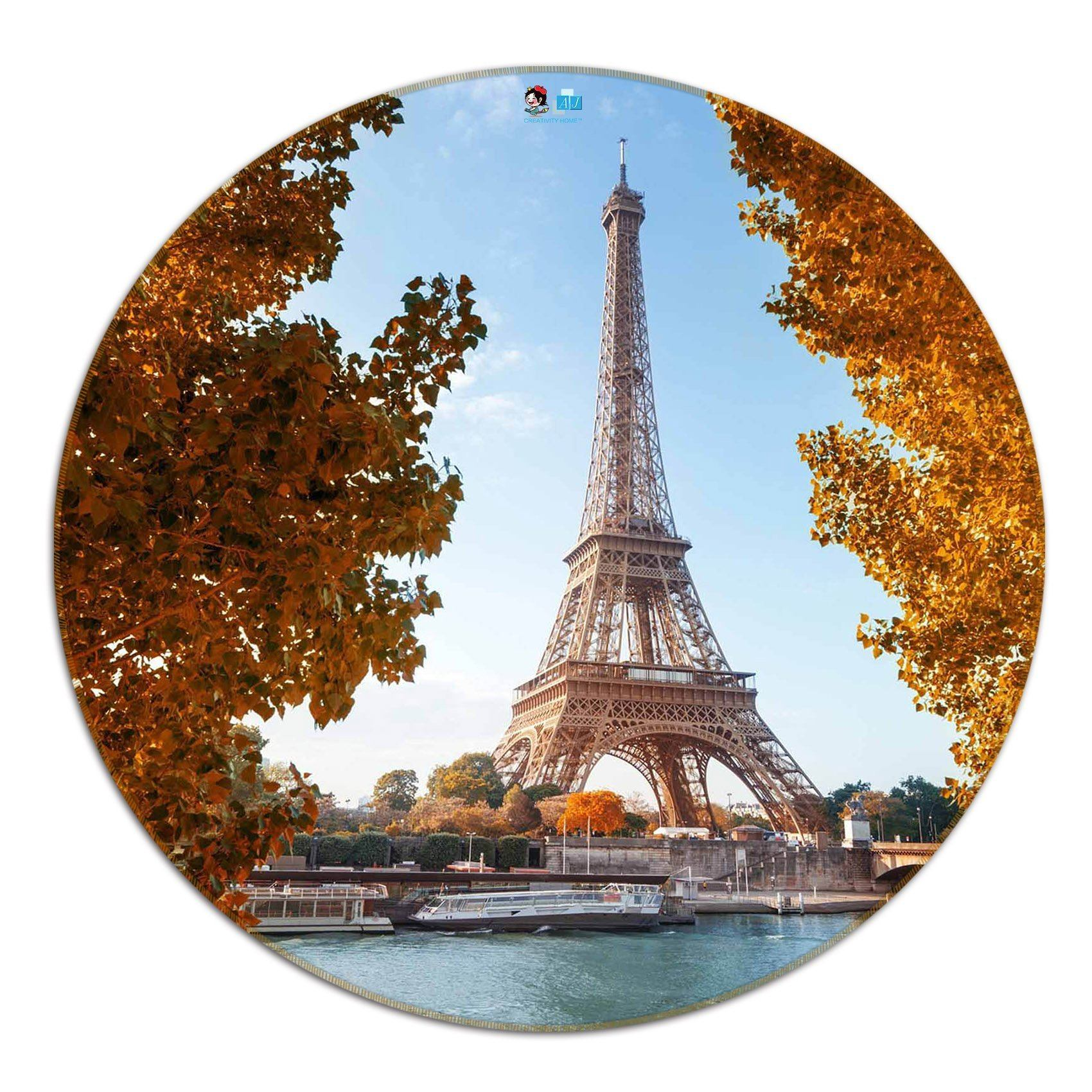 3D Eiffel Tower 78 Round Non Slip Rug Mat Mat AJ Creativity Home
