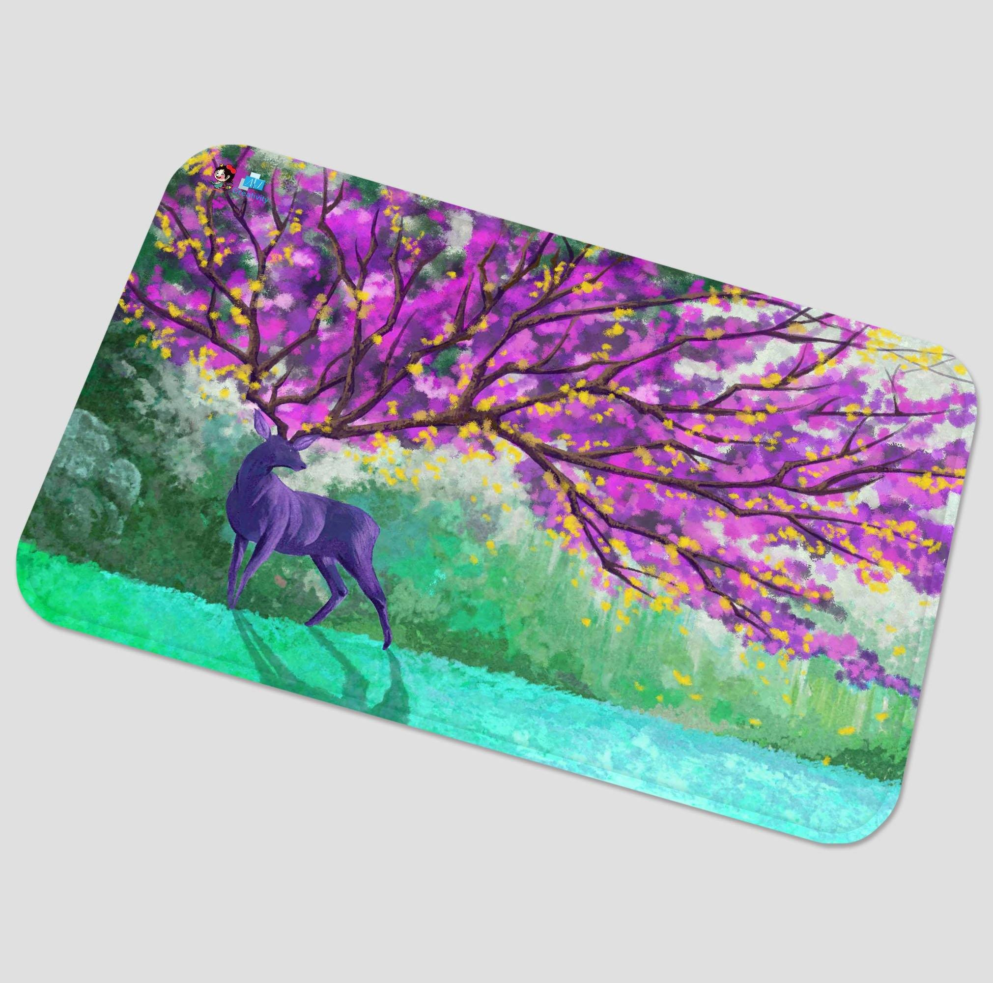 3D Deer Flowering Tree 80 Non Slip Rug Mat