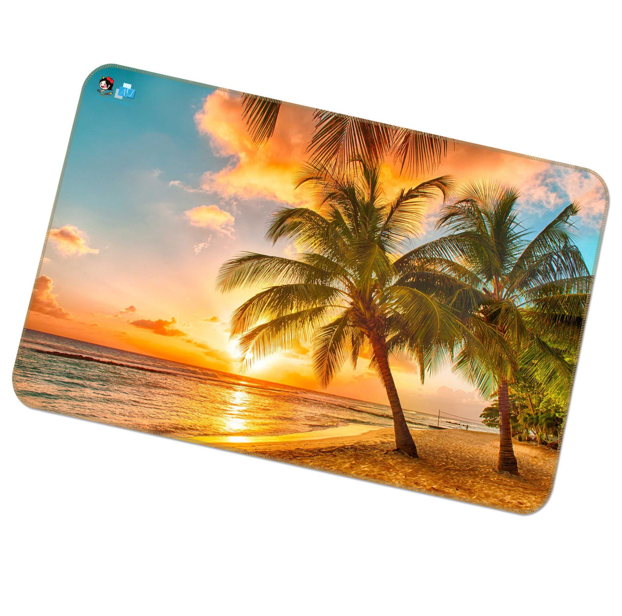 3D Sunset Sea Tree 438 Non Slip Rug Mat Mat AJ Creativity Home
