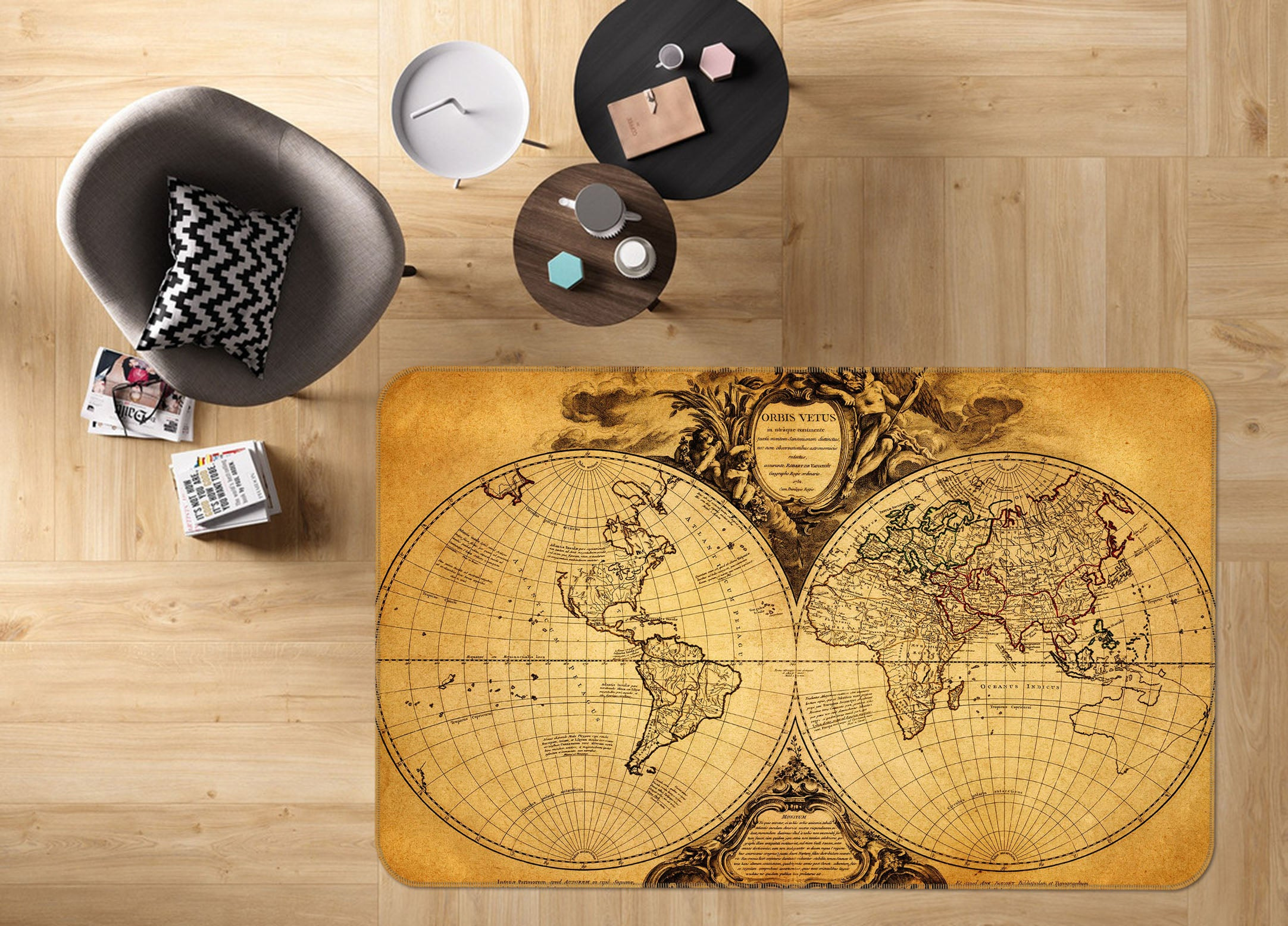 3D World Territory 226 World Map Non Slip Rug Mat