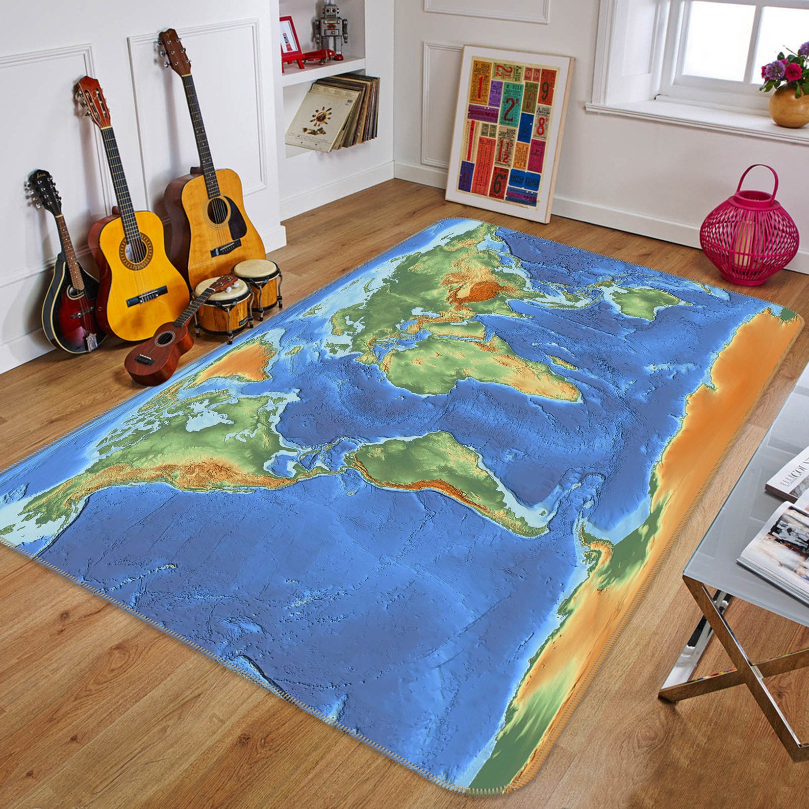 3D Volcano Eruption 220 World Map Non Slip Rug Mat