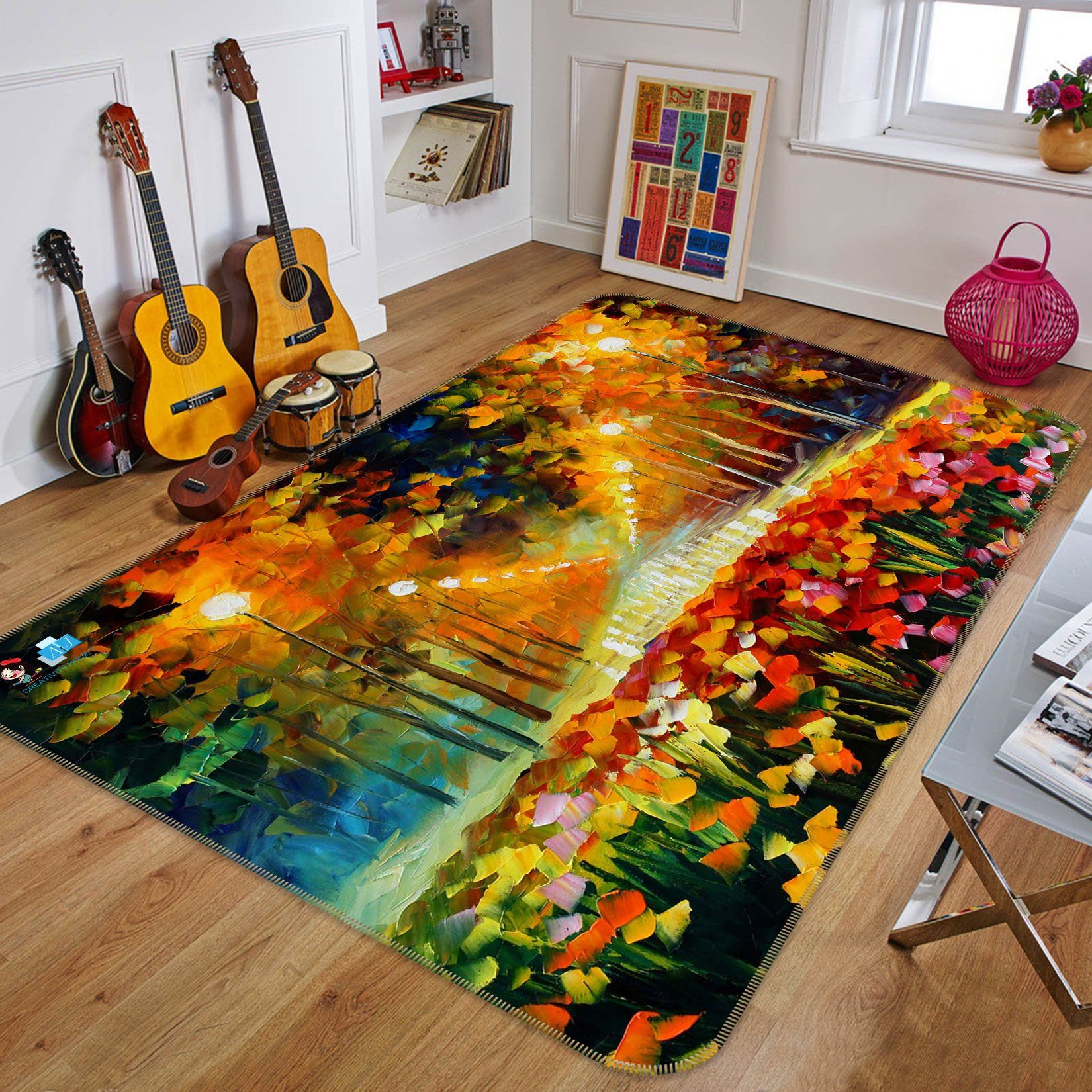 3D Oil Painting Street Light 760 Non Slip Rug Mat Mat AJ Creativity Home