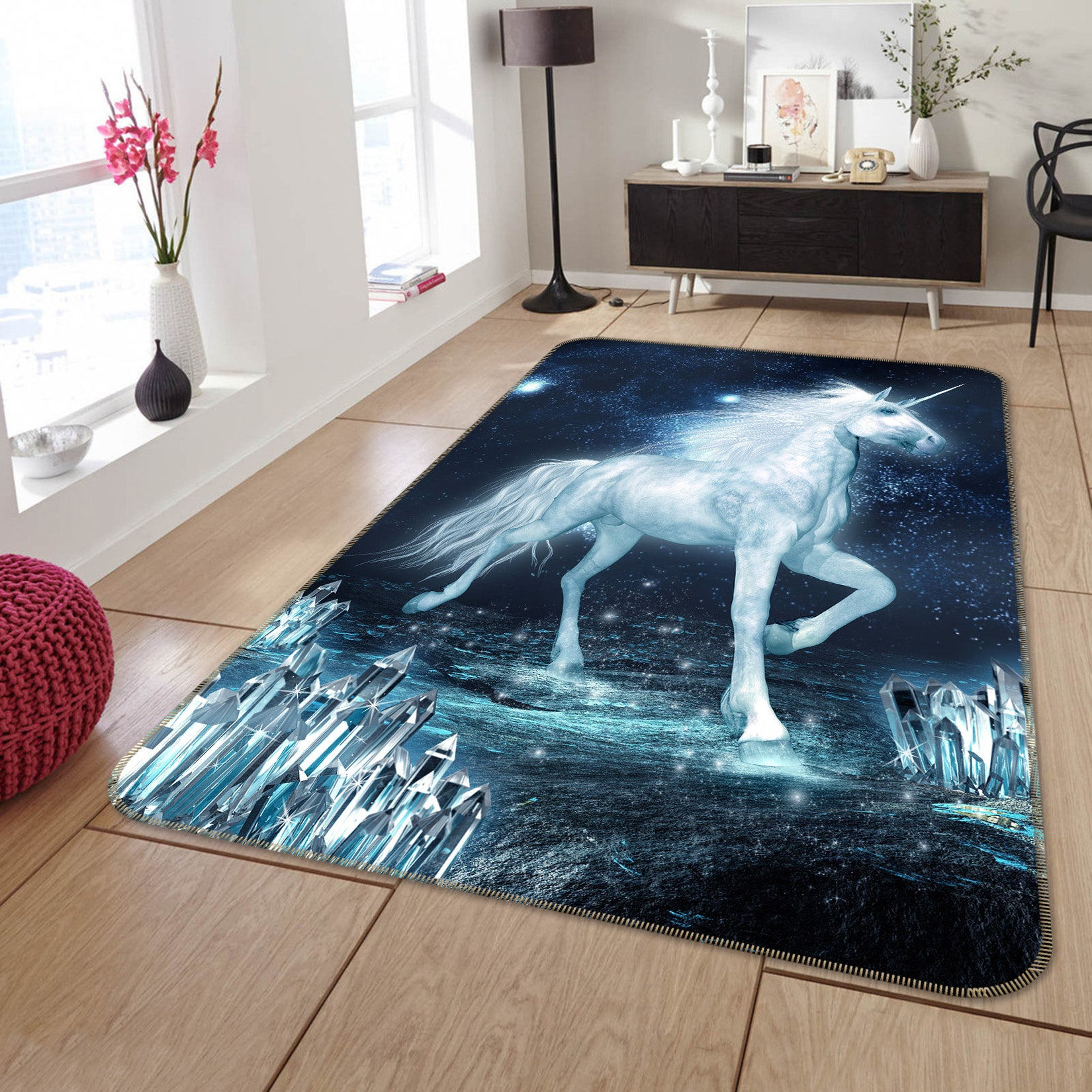 3D Unicorn Crystal 163 Animal Non Slip Rug Mat
