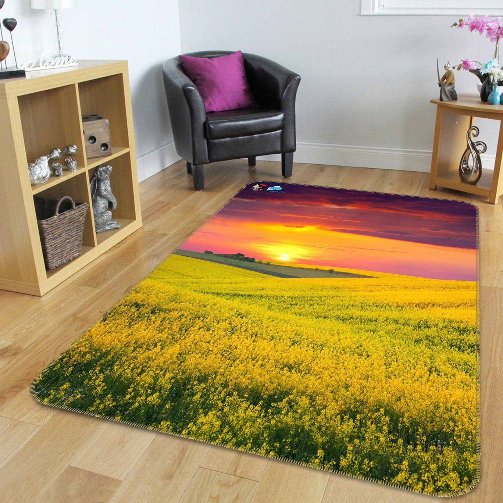3D Flowers Field Sunset 164 Non Slip Rug Mat