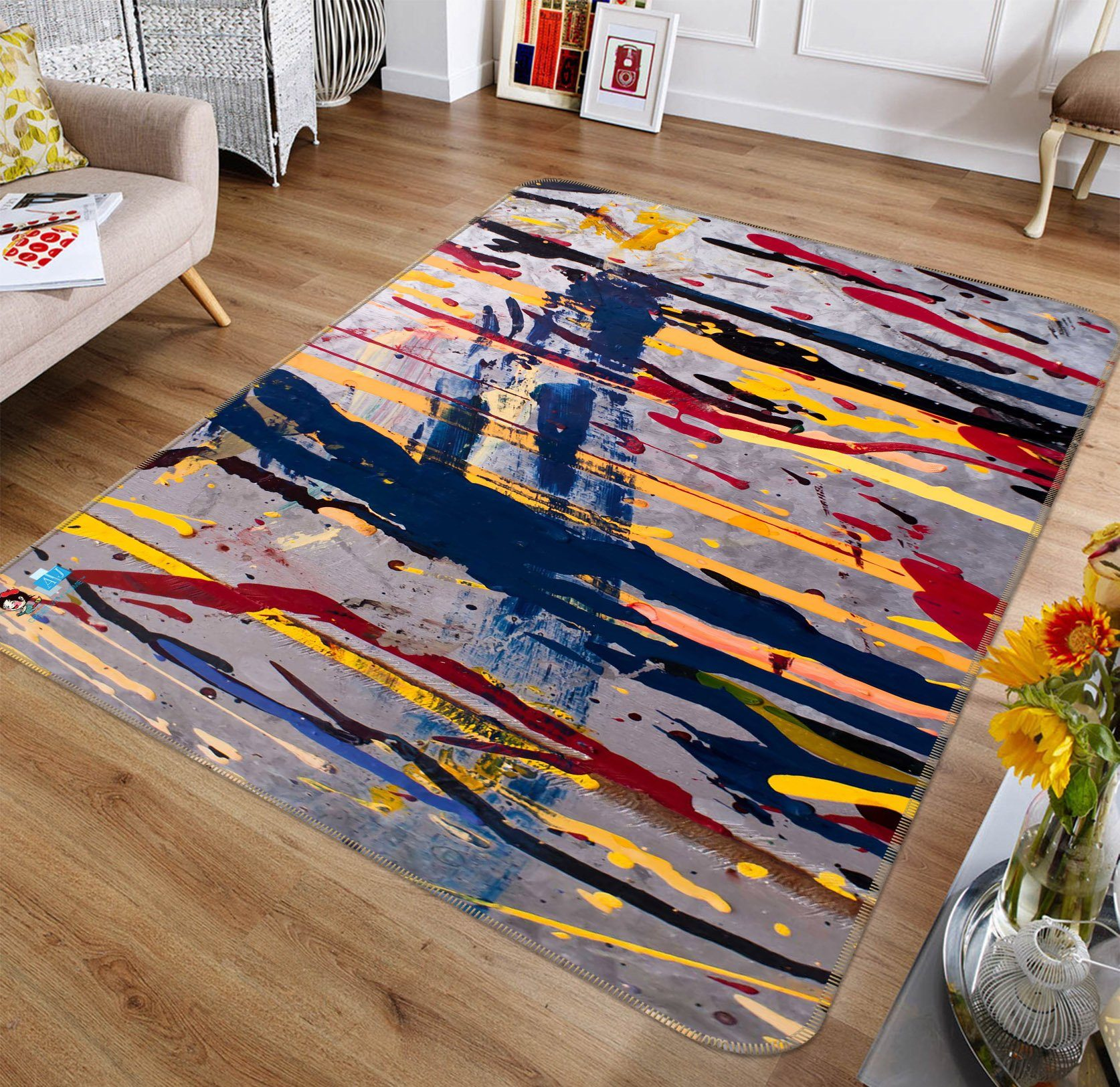 3D Random Color Lines 193 Non Slip Rug Mat Mat AJ Creativity Home