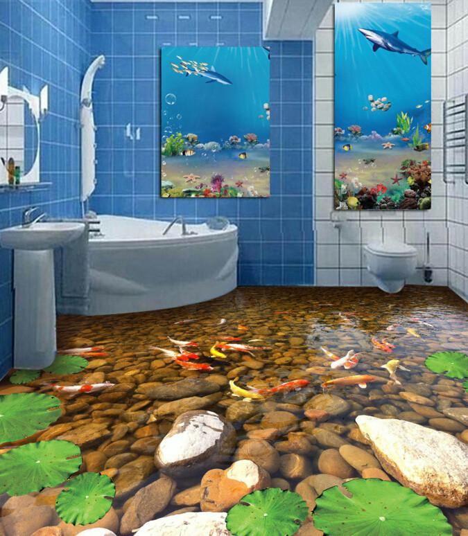 3D Golden Fishes Floor Mural - AJ Walls - 3