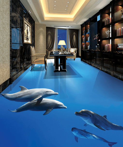 3D Smart Dolphins 077 Floor Mural Wallpaper AJ Wallpaper 2