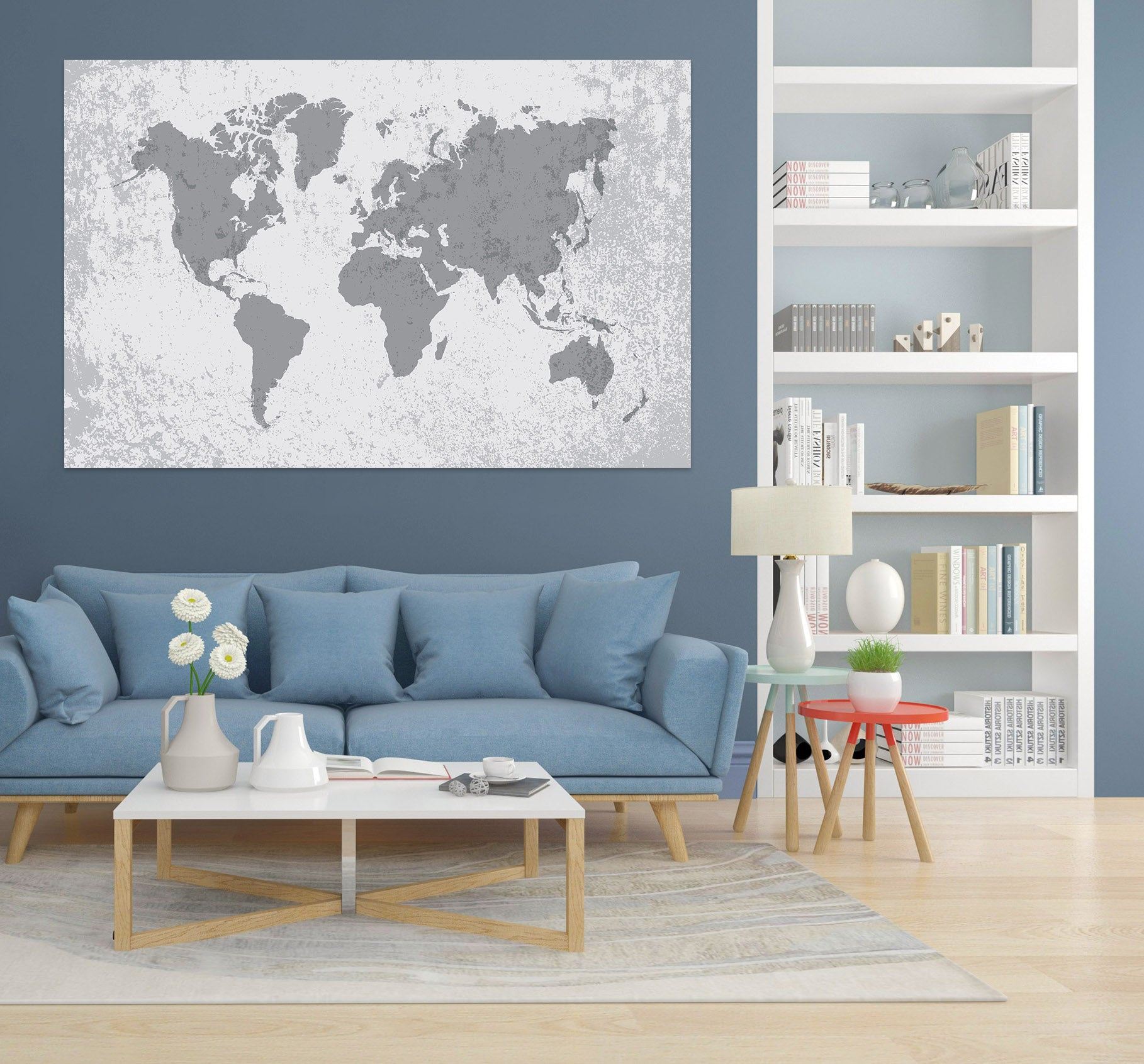 3D Gray Pattern 287 World Map Wall Sticker