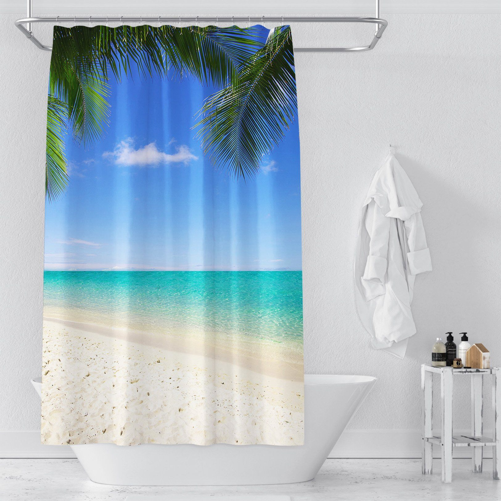 3D Beach Pit Sea 044 Shower Curtain 3D Shower Curtain AJ Creativity Home