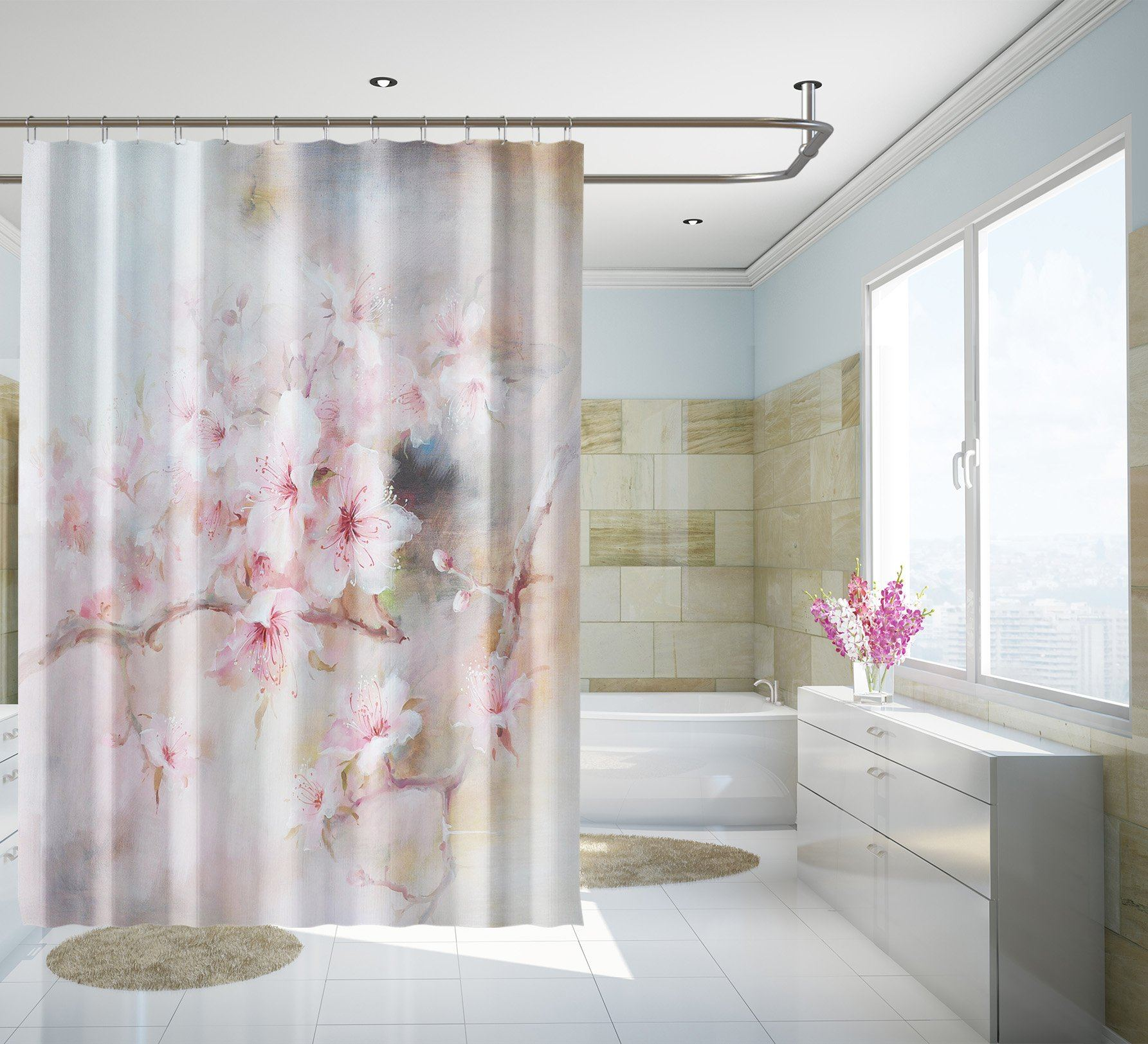 3D Beautiful Peach 134 Shower Curtain 3D Shower Curtain AJ Creativity Home