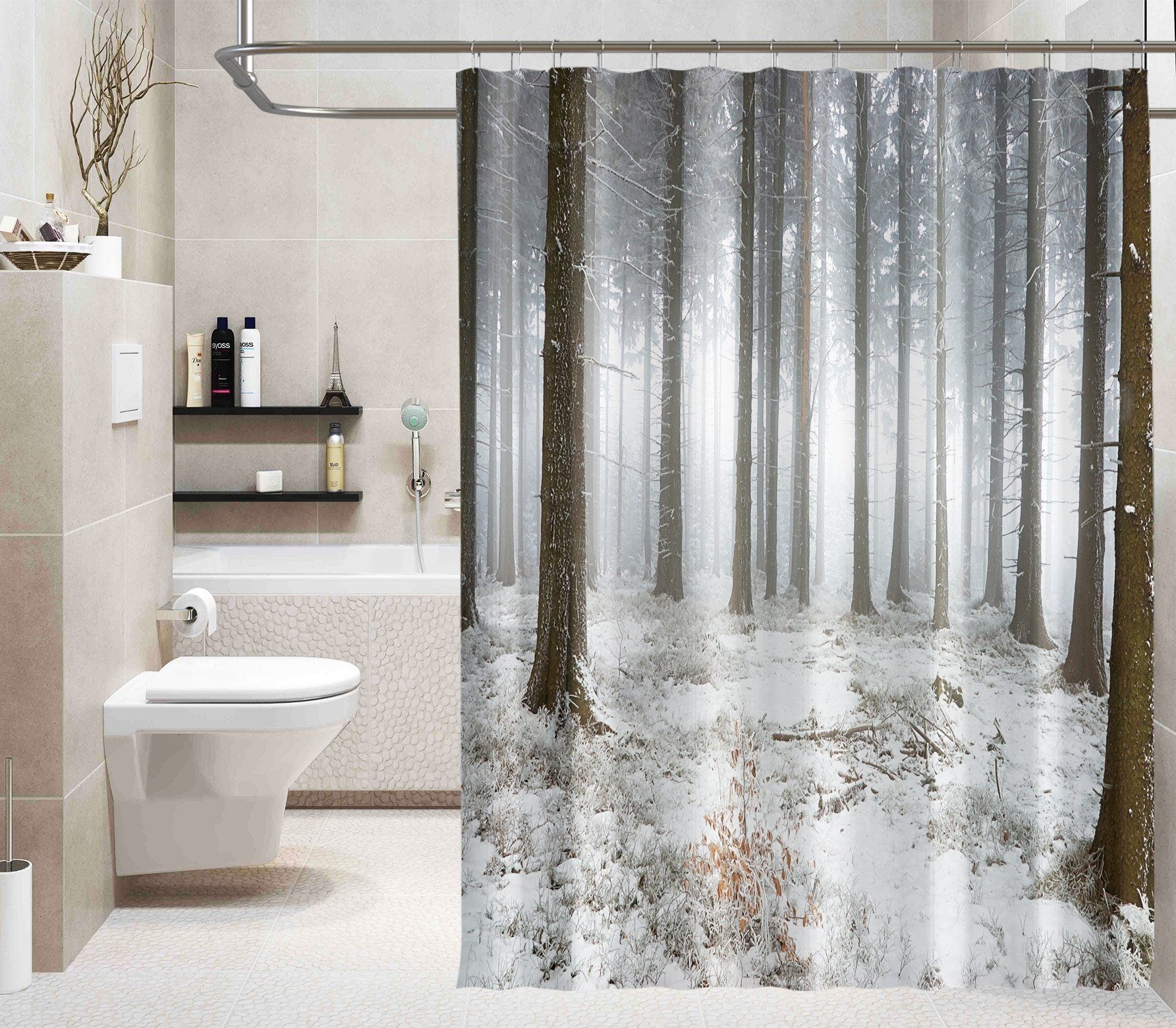 3D Forest White Snow 045 Shower Curtain 3D Shower Curtain AJ Creativity Home