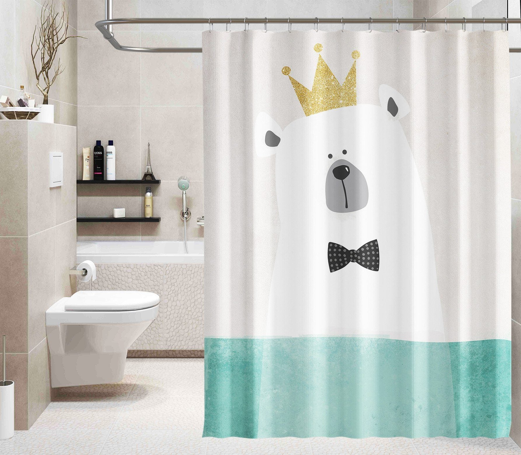 3D Cartoon White Bear 105 Shower Curtain 3D Shower Curtain AJ Creativity Home